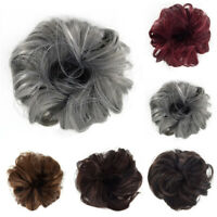 Real Natural Curly Messy Bun Hair Piece Scrunchie Thick Fake Hair Extension