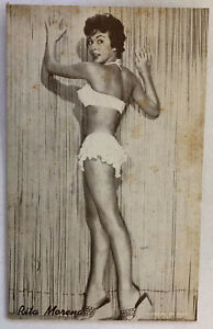 Rita Moreno Arcade Card; Pin-Up in Lingerie, Swimsuit; Plain Back, Dated 1976