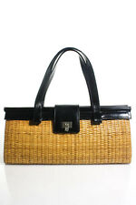 Lambertson Truex Tan Black Woven Wicker Leather Satchel Handbag