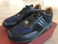 700$ Bally Ascar Blue Ink Leather Sneakers size US 10.5 Made In Italy