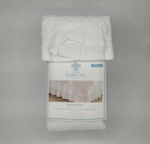 """New Shabby Chic White Bedskirt Full 15"""" Drop"""