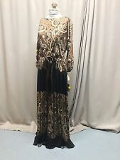 VTG BNOS Adele Simpson W Tags Black Brown Paisley Retro Maxi Dress Perfect!