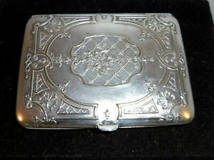 Antique French white metal and gilt cigarette case.