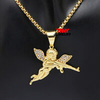 """24"""" STAINLESS STEEL HIP HOP  GOLD AK-47 ANGEL PENDANT NECKLACE 3MM BOX CHIAN"""