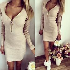 Women Deep V Neck Long Sleeve Clubwear Party Evening Mini Zipper Dress Clothes