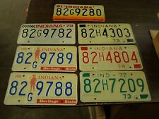 NOS Lot of 7 Indiana License Plates 1972 1973 1974 1975 1976 1979 1981