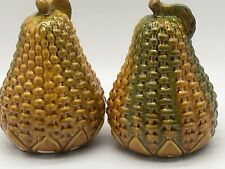 2 Large Vintage Basket Weave Ceramic Yellow Green Glazed Decorative Pears