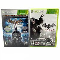 Xbox 360 Bundle Batman Arkham City-Batman Arkham Asylum Lot Of 2 Games Tested