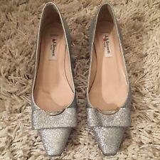L K Bennett Glitter Silver Party Shoes Kitten Heel Size 37