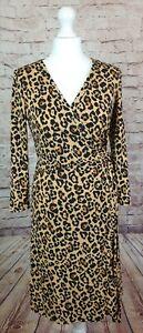 MNG Basics Wrapover Dress Leopard, Flattering Slinky Stretchy, BNWT UK Size 10