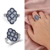 Party Jahrestag Geschenk engagement ehering silver ring saphir & white topaz