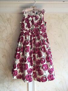 NWT Janie And Jack Girls Rose Print Dress 12 Plum