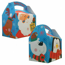 5 x Christmas Party Lunch Boxes Fun Party Gift Loot Favour Card Treat Boxes