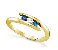 10K Yellow Gold Blue & White Diamond Ring .25ct Bypass 3 Stone Diamond Band