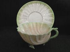 Irish Belleek Neptune  Pattern Cup & Saucer Second Black Mark