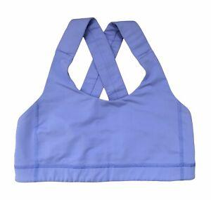 Lululemon Womens Size 6 Sports Bra Criss Cross Back Wide Straps Blue Stretch