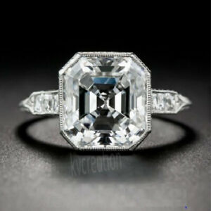 Asscher Cut 3.00 Ct Real Moissanite Antique Engagement Ring 925 Sterling Silver