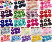 50pcs Upick satin ribbon flowers bows with Appliques Craft DIY Wedding