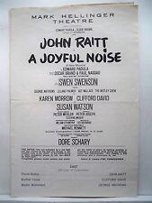 A JOYFUL NOISE Playbill JOHN RAITT / SWEN SWENSON / KAREN MARROW NYC 1966