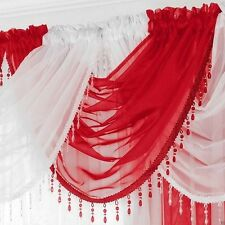 Ready Made Voile Swag X 1 Drape Pelmet Curtain Crystal Beaded Trim 56x45cm Red