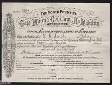 Share Scrip - Gold Mining. 1898 The North Prentice Gold Mining Co - Rutherglen