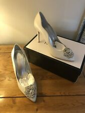 Nine West Silver Shoes Sparkly Sole Perfect For Bride Wedding