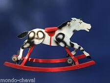 CHEVAL A BASCULE ET A ROULETTES,  EN BOIS,  ancien, rocking horse