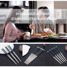 1Pair Chinese Household Chopsticks Non-Slip Stainless Steel Reusable Chopsticks