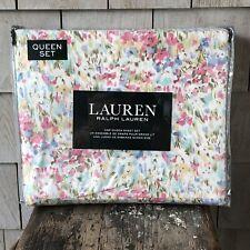 Ralph Lauren Watercolor Floral QUEEN Sheet Set ~ New