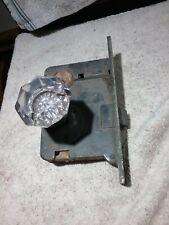 Antique Glass Door Knob & Corbin Lock Reclaimed Door Hardware *No Key*