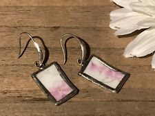 Recycled Porcelain Jewelry, Vintage Collection, Purple Floral Earrings
