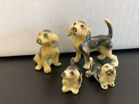 Japan Bone China Spaniel Dog And Puppies Miniature Figurines Hi style Antique