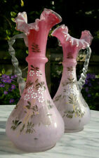 More details for pair of antique cased satin pink art glass ewers~vases~hand enamelled 10