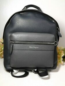 Salvatore Ferragamo  Black/Navy/Grey Pebbled Leather Zipper Backpack*NEW**$1350