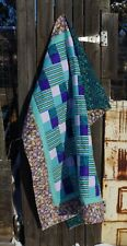 Handmade Patchwork Purple Teal Sea Shell Stripes Quilt Cotton Couch Size
