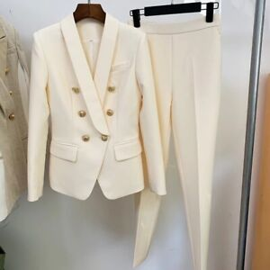 Cream 2 Pieces Suit Double Breasted Blazer With Gold Buttons And Trousers