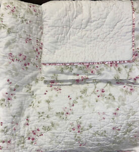 3 Piece  Simply Shabby Chic Cherry Blossom King  Quilt  Shams Pink Floral