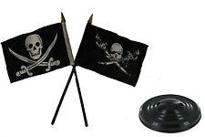 "Jolly Roger Pirate Brethren & Calico Jack Flag 4""x6"" Desk Set Table Black Base"