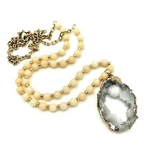 WHITE HOUSE BLACK MARKET Necklace Facet Crystal Beads Raw Geo Gold Pendant