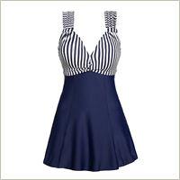 Womens Striped Swimdress One Piece Swimwear Tummy Control Swimsuit US size 10-16