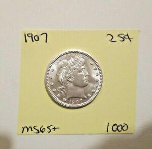 1907 Barber Quarter Gem Mint BU Blast White With Luster Perfect You Grade nzrz