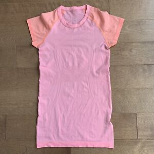 Lululemon Run: Swiftly Tech Short Sleeve Bleached Coral / Pop Orange Size 4 Top