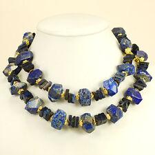 """Ny6Design Elegant Multi-Strand Blue Lapis Lazuli Beads Necklace w/Gold Clasp 18"""""""
