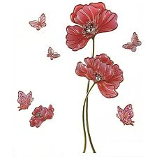 Butterfly Poppy Wall Stickers Red Flower Floral Butterflies 3d Art Self Adhesive