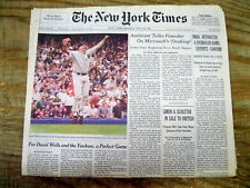 1998 NY Times newspaper DAVID WELLS pitches a PERFECT GAME for the NY Yankees