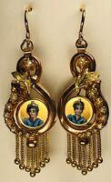 Antique 19th Century Victorian Portrait Enamel 14K Gold & Seed Pearls Earrings