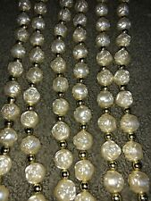 Pearl Color And Gold Rose Bead Christmas Garland 9 Feet Holiday Decor