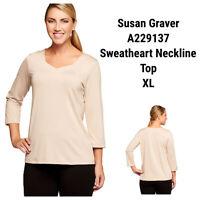 Susan Graver Essentials Women XL Tunic Top Blouse Solid Tan Beige Stretch