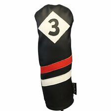 Majek Retro Golf #3 Fairway Wood Headcover Black Red White Vintage Leather Style