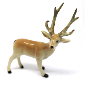 Small Ceramic Figurine  Deer Animal Craft Miniature Collectible Garden Decor